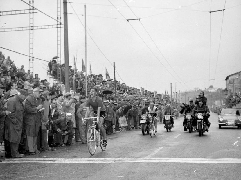 Image of Tom winning the 1965 world professional road race championships in Spain